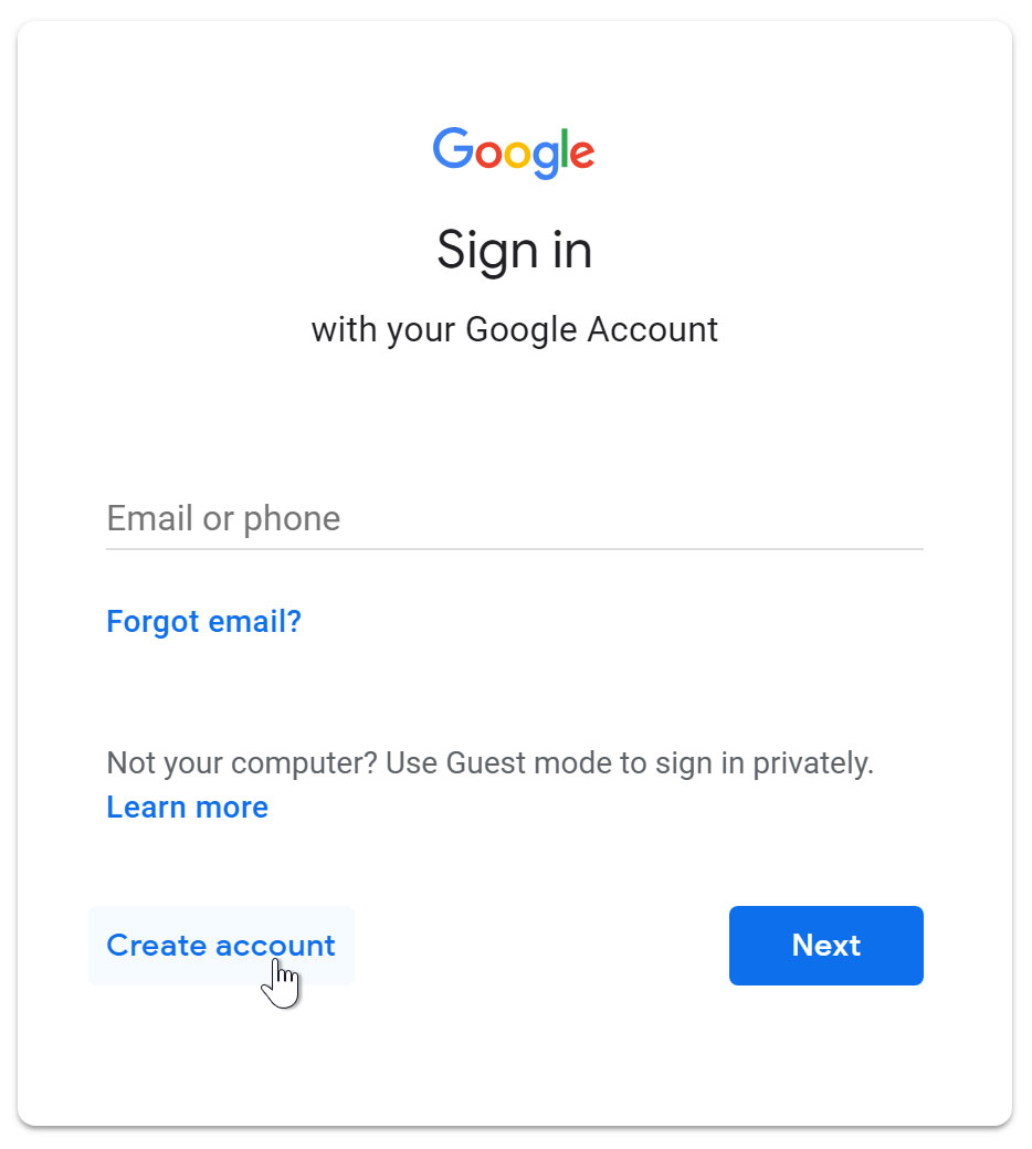 create account button - طرز ساخت ایمیل با گوشی