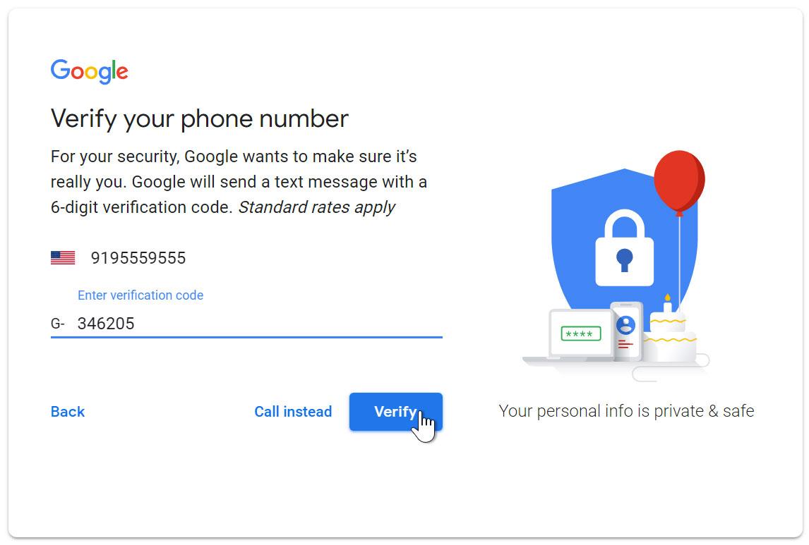 create enter verification - طرز ساخت ایمیل با گوشی